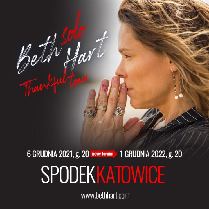 1 grudnia 2022 Beth Hart po raz pierwszy w Polsce zagra Solo!